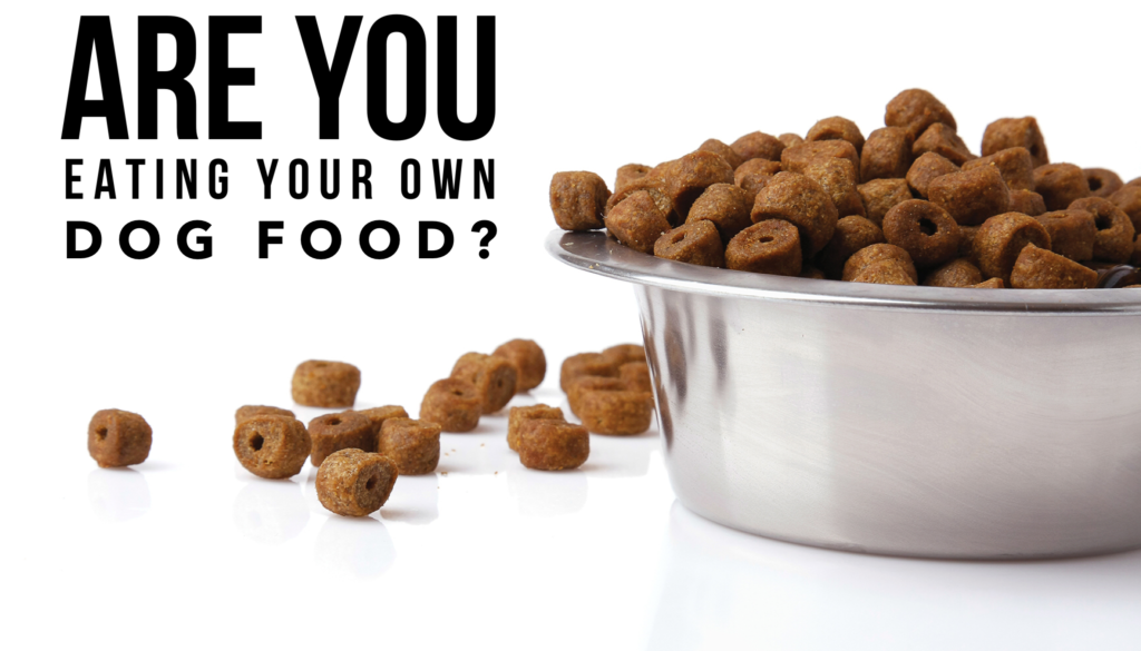 A picture of a bowl of Dog Food with the caption